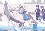 /\/\/\ 1boy 2girls alternate_footwear baseball_cap black_hair blowhole blue_hair blush boots bracelet bucket commentary_request common_bottlenose_dolphin_(kemono_friends) dolphin dolphin_tail dress eyebrows_visible_through_hair frilled_dress frills grey_hair hat japari_symbol jewelry kemono_friends multicolored_hair multiple_girls neckerchief open_mouth ponytail sailor_collar short_hair short_sleeves splashing star tanaka_kusao uniform watch water