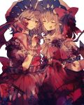 2girls ascot bat_wings blonde_hair blood blood_on_face bloody_clothes bow brooch commentary_request crystal dress eyebrows_visible_through_hair eyes_closed fang flandre_scarlet frilled_shirt_collar frills grey_hair hand_up hat hat_bow highres jewelry mob_cap multiple_girls parted_lips pointy_ears puffy_short_sleeves puffy_sleeves red_bow red_dress red_eyes red_neckwear remilia_scarlet short_hair short_sleeves siblings side_ponytail simple_background sisters skirt_hold smile touhou white_background white_dress wings wiriam07 wrist_cuffs yellow_neckwear