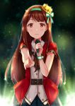1girl bangs belt black_skirt blush crown green_hairband highres holding holding_microphone idolmaster idolmaster_million_live! idolmaster_million_live!_theater_days index_finger_raised long_hair microphone mini_crown pleated_skirt red_eyes short_sleeves skirt smile solo sparkle standing tanaka_kotoha very_long_hair yuzuyu_(hyui)