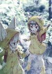 2girls alternate_costume animal_ears backpack bag black_hair blonde_hair boots common_raccoon_(kemono_friends) ears_through_headwear elbow_gloves eyebrows_visible_through_hair fang fennec_(kemono_friends) fox_ears fur_collar fur_trim gloves grey_hair highres kemono_friends kolshica multicolored_hair multiple_girls neck_ribbon pointing raccoon_ears raccoon_tail rain raincoat ribbon rubber_boots short_hair tail