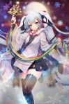 1girl absurdres bangs bell black_legwear black_ribbon black_skirt blue_eyes blue_hair blue_ribbon floating_hair green_ribbon hair_ribbon hatsune_miku highres holding long_hair miniskirt moon musical_note musical_note_hair_ornament musical_note_print one_leg_raised parted_lips pleated_skirt red_ribbon ribbon skirt smile snowflake_print snowflakes solo standing standing_on_one_leg striped striped_legwear thighhighs twintails vertical-striped_legwear vertical_stripes very_long_hair vocaloid watermark web_address white_ribbon y.i._(lave2217) yellow_ribbon yuki_miku zettai_ryouiki
