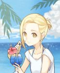1girl alternate_costume alternate_hairstyle bikini bikini_under_clothes blonde_hair closed_mouth cloud cloudy_sky collarbone cup day drinking_glass drinking_straw elaine flower food fruit hibiscus holding holding_cup lemon lemon_slice looking_at_viewer nanatsu_no_taizai ocean outdoors red_flower shirt short_hair short_ponytail short_sleeves sky smile solo swimsuit t-shirt tropical_drink white_shirt yellow_eyes