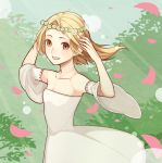 1girl blonde_hair breasts brown_eyes collarbone day detached_sleeves dress elaine flower_wreath head_wreath long_sleeves looking_at_viewer nanatsu_no_taizai open_mouth outdoors pink_petals red_ribbon ribbon ribbon-trimmed_sleeves ribbon_trim short_hair small_breasts smile solo sunlight upper_body white_dress wide_sleeves wind yellow_eyes