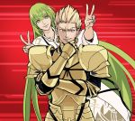 1boy 1other androgynous armor blonde_hair chin_grab collarbone commentary double_v earrings enkidu_(fate/strange_fake) eyebrows_visible_through_hair eyes_closed fate/grand_order fate/stay_night fate/strange_fake fate_(series) fingernails full_armor gilgamesh green_eyes green_hair grin hair_between_eyes jewelry long_hair male_focus motion_lines natsu_yasai red_background red_eyes robe shaded_face smile toga v very_long_hair white_robe