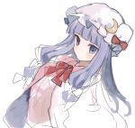 1girl bangs blunt_bangs blush bow closed_mouth crescent crescent_moon_pin dress hat hat_bow hat_pin ikeuchi_tanuma long_hair looking_at_viewer neck_ribbon patchouli_knowledge pillow_hat purple_eyes purple_hair red_bow red_neckwear red_ribbon ribbon simple_background sketch solo touhou white_background white_hat