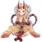 1girl :t beltbra blonde_hair bra closed_mouth fate/grand_order fate_(series) fingernails hair_ornament horns ibaraki_douji_(fate/grand_order) ikeuchi_tanuma indian_style japanese_clothes kimono long_hair long_sleeves oni oni_horns sharp_fingernails simple_background single_bare_shoulder sitting slit_pupils solo tattoo underwear white_background white_bra wide_sleeves yellow_eyes yellow_kimono