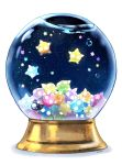 bubble commentary english_commentary gen_7_pokemon highres mei_(maysroom) minior night night_sky no_humans pokemon pokemon_(creature) pokemon_(game) pokemon_sm signature simple_background sky snow_globe star star_(sky) starry_sky water white_background