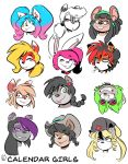 2018 anthro beauty_mark black_hair blonde_hair blue_eyes blue_hair blush braided_hair brown_fur buckteeth canine cat collar cowboy_hat coyote dog dreadlocks duckdraw ear_piercing english_text eyes_closed eyewear feline female flower flying_squirrel fox fur glasses goggles green_eyes green_hair grey_fur group hair happy hat headshot_portrait husky lagomorph large_group long_hair looking_at_viewer mammal mouse mustelid orange_eyes otter piercing pink_hair plant ponytail portrait procyonid purple_eyes purple_hair rabbit raccoon red_eyes rodent short_hair simple_background skunk smile squirrel star striped_fur stripes teeth text tiger upside_down ushanka white_background white_fur white_hair