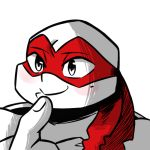 2018 anthro bandanna blush blush_stickers bust_portrait expression_meme inkyfrog male mask mole_(marking) partially_colored portrait raphael_(tmnt) reptile scalie shell simple_background smile solo teenage_mutant_ninja_turtles turtle white_background