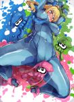1girl ass_visible_through_thighs blonde_hair blue_eyes bodysuit bound bound_arms bound_legs breast_grab breasts cameltoe clenched_teeth covered_navel highres ink inkling lying metroid nintendo on_back ponytail pussy_juice_stain samus_aran skin_tight speed_lines splatoon spread_legs squid super_smash_bros. teeth tentacle through_clothes yuzumiya_mono zero_suit