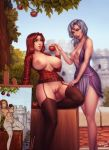 2girls apple areolae blue_eyes blurry bottomless breasts breasts_outside castle depth_of_field dress food fruit garter_straps highres large_breasts long_hair looking_at_another medium_breasts multiple_girls nipples open_clothes outdoors painting_(object) parted_lips personal_ami plaid plaid_shirt pussy red_hair shirt silver_eyes silver_hair standing thighhighs tree uncensored yuri
