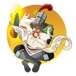 1boy amaterasu animal armor cindyaqui crossover dark_souls deviantart_username face_licking full_armor helmet highres holding holding_animal knight licking ookami_(game) plume solaire_of_astora souls_(from_software) sun_(symbol) watermark wolf