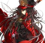 1girl black_hair black_hat black_jacket cape chains commentary double-breasted family_crest fate/grand_order fate_(series) gloves gun hat holding holding_gun holding_sword holding_weapon jacket military military_hat military_uniform oda_nobunaga_(fate) peaked_cap red_cape red_eyes shino_(eefy) smile solo sword uniform weapon white_gloves