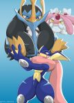 2015 ambiguous_gender blue_background empoleon gradient_background greninja group legendary_pokémon male mesprit nintendo open_mouth pokémon pokémon_(species) simple_background sweat type video_games