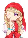 1girl ;) bangs blonde_hair bracelet braid closed_mouth dragon_quest dragon_quest_xi hat highres jewelry kz_ripo long_hair one_eye_closed puffy_short_sleeves puffy_sleeves purple_eyes red_hat short_sleeves simple_background smile solo twin_braids twitter_username upper_body veronica_(dq11) white_background