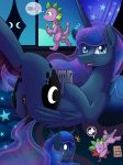 2018 anus bed bedding bedroom blanket blood butt cosmic_hair curtains cute cutie_mark detailed_background dock dragon duo equine eyebrows eyelashes eyes_closed feathered_wings feathers female feral friendship_is_magic game_boy horn looking_at_viewer lying male mammal my_little_pony nintendo nosebleed on_back open_mouth princess_luna_(mlp) pussy spike_(mlp) star startled sweat sweatdrop teal_eyes text thought_bubble tongue unconscious vavacung video_games winged_unicorn wings x_eyes