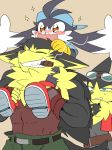 abs blush butz_(klonoa) canine carrying cat cigar eyewear feline goggles grin guntz hat klonoa klonoa_(series) long_ears male mammal muscular pilz_moos ponytail smile wolf
