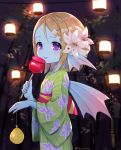 1girl bamboo blonde_hair blue_skin blurry blurry_background blush candy_apple closed_mouth dragon_quest dragon_quest_x fins flat_chest flower food from_side green_kimono hair_flower hair_ornament hairclip head_fins holding japanese_clothes kimono kz_ripo lantern lily_(flower) long_sleeves medium_hair night obi outdoors purple_eyes sash smile solo somya_(dq10) tongue tongue_out twitter_username weddie_(dq10) white_flower wide_sleeves