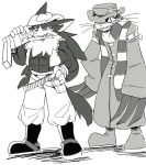 butz_(klonoa) canine cat cigar claws feline grin gun hat janga klonoa_(series) male mammal muscular pilz_moos ponytail ranged_weapon scarf smile weapon wolf