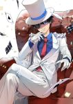 1boy ace_of_spades black_hair blue_eyes blue_shirt cape card chair formal gloves hand_up hat ice_(ice_aptx) kaitou_kid legs_crossed looking_at_viewer male_focus meitantei_conan monocle necktie pants playing_card red_neckwear shirt sitting smile solo suit top_hat white_background white_gloves white_hat white_pants white_suit