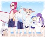 androgynous aqua_eyes baseball_cap beach blonde_hair blue_hair blue_sky blurry bracelet choker cloud commentary commentary_request cowboy_shot darling_in_the_franxx day depth_of_field eyes_closed food gradient_clothes green_eyes green_hair grey_hair hand_in_pocket hand_on_headwear hand_on_hip hand_on_thigh hat heart ice_cream ice_cream_cone jacket jewelry mask mt.somo nine_alpha_(darling_in_the_franxx) nine_beta nine_delta nine_epsilon nine_eta nine_gamma nine_theta nine_zeta ocean open_clothes open_shirt outdoors purple_hair red_eyes red_hair sand_sculpture school_uniform shirt shorts sky smile standing straw_hat sunglasses surfboard track_jacket triplets white_shirt