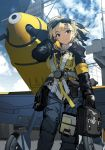 1girl adjusting_hair aircraft aircraft_carrier bag bf_109 blonde_hair blue_sky clipboard cloud eyebrows_visible_through_hair from_below goggles goggles_on_head harness landing_gear looking_at_viewer military military_vehicle original propeller red_eyes satchel ship siqi_(miharuu) sketch sky smile solo warship watercraft