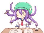 :q blue_sailor_collar blush_stickers drawing green_hat greenteaneko hair_between_eyes hat highres ink_bottle ink_pen long_hair long_sleeves motion_lines necktiie paper prehensile_hair purple_hair red_neckwear sailor_collar shirt simple_background table tentacle_hair tongue tongue_out white_background white_shirt |_|