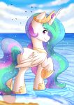 2018 absurd_res avian beach bird butt cloud crown cute dock equine eyebrows eyelashes feathered_wings feathers female feral friendship_is_magic hair hi_res hooves horn long_hair looking_at_viewer looking_back mammal multicolored_hair my_little_pony nana-yuka nude outside portrait princess_celestia_(mlp) purple_eyes rainbow_hair raised_leg royalty seaside sky smile solo standing water watermark white_feathers winged_unicorn wings