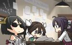 3girls ahoge bare_shoulders black_hair brown_eyes brown_hair dated detached_sleeves dress fujinami_(kantai_collection) hair_between_eyes hairband hamu_koutarou headgear highres japanese_clothes kantai_collection kirishima_(kantai_collection) long_hair long_sleeves multiple_girls nontraditional_miko open_mouth purple_dress purple_hair ribbon-trimmed_sleeves ribbon_trim shirt short_hair side_ponytail sleeveless sleeveless_dress sunglasses tone_(kantai_collection) twintails white_shirt wide_sleeves