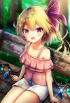 1girl ahoge bare_shoulders bench blonde_hair blurry blurry_background blush casual collarbone commentary_request contemporary crystal eyebrows_visible_through_hair flandre_scarlet hair_ribbon highres leaf looking_at_viewer no_hat no_headwear off-shoulder_shirt off_shoulder open_mouth pink_shirt red_eyes red_ribbon renka_(cloudsaikou) ribbon shirt short_hair short_shorts shorts side_ponytail sitting smile solo thighs touhou tree white_shorts wings
