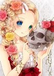 1girl aqua_eyes blonde_hair blue_eyes braid center_frills collarbone commentary_request flower hair_flower hair_ornament hair_over_shoulder hair_vines hairband heterochromia highres holding_skull looking_at_viewer no_bangs original parted_lips pink_flower pink_rose plant pointing red_flower red_rose ribbon rose sleeveless solo taira_shinki upper_body vines white_hairband white_ribbon yellow_flower yellow_rose