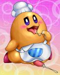 2013 blush box_xod clothed clothing cum gradient_background hat kirby_(series) male nintendo not_furry open_mouth penis pink_background simple_background solo tagme tongue tongue_out video_games yellow_background