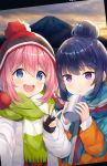 2girls :< artist_name beanie blue_eyes blue_hair blush coat cup eyebrows_visible_through_hair happy hat hitsukuya kagamihara_nadeshiko mount_fuji mountain multiple_girls open_mouth pink_hair pom_pom_(clothes) purple_eyes scarf self_shot shima_rin smile sunrise teeth v winter_clothes winter_coat yurucamp