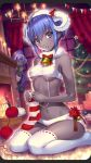 1boy 2girls assassin_(fate/zero) bangs bare_arms bare_shoulders basket bauble bell black_skin blush bow bowtie breasts candle cat christmas_tree commentary_request craft_essence curtains dark_skin eyebrows_visible_through_hair fate/grand_order fate/prototype fate/prototype:_fragments_of_blue_and_silver fate/stay_night fate/zero fate_(series) female_assassin_(fate/zero) fire fireplace forehead fur_collar gift hassan_of_serenity_(fate) highres horns indoors knitting knitting_needle kunai lips looking_at_viewer mask medium_breasts merry_sheep multiple_girls navel needle nishimura_eri no_shoes panties parted_bangs peeking_out ponytail purple_eyes purple_hair red_bow red_neckwear ribbon-trimmed_legwear ribbon_trim sheep_horns shiny shiny_hair sidelocks sitting socks solo_focus stomach striped striped_legwear tareme thighhighs thighs true_assassin underboob underwear underwear_only wariza weapon white_legwear white_panties window