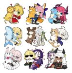 1boy 6+girls ahoge animal_costume animal_ears asterios_(fate/grand_order) black_pupils blonde_hair blue_eyes blush braid bug butterfly chibi closed_mouth commentary_request dark_skin dragon_tail elizabeth_bathory_(fate) elizabeth_bathory_(fate)_(all) euryale eyebrows_visible_through_hair eyes_closed fate/extra fate/extra_ccc fate/grand_order fate_(series) fou_(fate/grand_order) fox_ears fox_tail french_braid fujimaru_ritsuka_(male) glasses green_eyes hair_ornament hair_ribbon hairband heart heart-shaped_pupils horns insect jeanne_d'arc_(alter)_(fate) jeanne_d'arc_(fate)_(all) jeanne_d'arc_(swimsuit_archer) jeanne_d'arc_alter_santa_lily kou_mashiro long_hair looking_at_viewer mash_kyrielight minamoto_no_raikou_(fate/grand_order) multiple_girls nero_claudius_(fate) nero_claudius_(fate)_(all) object_hug one_eye_closed open_mouth pink_hair pointy_ears purple_eyes purple_hair red_eyes reindeer_costume ribbon sakata_kintoki_(fate/grand_order) short_hair simple_background single_braid smile stuffed_animal stuffed_cat stuffed_dolphin stuffed_dragon stuffed_fox stuffed_reindeer stuffed_toy symbol-shaped_pupils tail tamamo_(fate)_(all) tamamo_no_mae_(fate) twintails white_background white_hair yellow_butterfly yellow_eyes