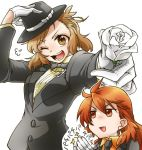 2girls :d alternate_costume amou_kanade aqua_eyes bespectacled brown_hair clapping fedora flower glasses gloves hat looking_at_viewer multiple_girls open_mouth red_eyes red_hair rose senki_zesshou_symphogear senki_zesshou_symphogear_xd_unlimited simple_background smile sunahi_arumi tachibana_hibiki_(symphogear) white_background white_flower white_gloves white_rose
