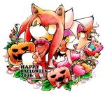 bat cute echidna female food fruit halloween holidays knuckles_the_echidna male mammal monotreme pumpkin rouge_the_bat sonic_(series) urahyu