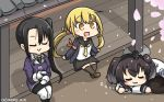 3girls :3 :d alcohol black_hair black_legwear black_sailor_collar black_skirt blonde_hair blush brown_footwear commentary_request crescent crescent_moon_pin cup dated eyes_closed hamu_koutarou highres holding jacket juliet_sleeves kantai_collection long_hair long_sleeves low_twintails military military_uniform multiple_girls nachi_(kantai_collection) open_mouth pantyhose petals puffy_sleeves purple_jacket remodel_(kantai_collection) sailor_collar sakazuki sake satsuki_(kantai_collection) shoes side_ponytail sitting skirt sleeping smile thighhighs tokitsukaze_(kantai_collection) twintails uniform white_legwear zzz