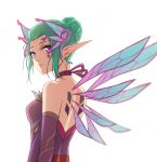 1girl alternate_costume aqua_hair bare_shoulders breasts choker dress elbow_gloves fairy fairy_wings from_behind gloves hair_bun hair_ornament highres looking_at_viewer looking_back looking_to_the_side mechanical_wings medium_breasts mercy_(overwatch) overwatch purple_dress purple_eyes purple_gloves purple_ribbon qingchen_(694757286) ribbon ribbon_choker short_hair simple_background sleeveless sleeveless_dress solo sparkle sugar_plum_fairy_mercy upper_body white_background wings