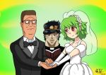 1girl 2boys artist_request bible black-framed_eyewear black_hat black_jacket black_neckwear blush book bow bowtie bridal_gauntlets bridal_veil brown_hair closed_mouth commentary crossover dated deviantartmossington dress english_commentary epic eye_contact flower formal glasses green_background green_hair hank_hill hat head_wreath holding holding_book holding_hands jacket jojo_no_kimyou_na_bouken kazami_yuuka king_of_the_hill kuujou_joutarou long_sleeves looking_at_another multiple_boys open_book pegazora priest red_eyes signature simple_background smile suit toon touhou tuxedo upper_body veil wedding wedding_dress what white_dress white_flower wrinkled_skin