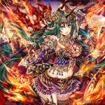 1girl arm_up armor bangs belt_buckle bikini_armor black_legwear blue_eyes blurry blurry_background breasts brown_belt buckle closed_mouth company_name cowboy_shot dragon_girl dragon_horns dragon_wings elbow_gloves eyebrows_visible_through_hair fire floating_hair forehead_jewel garter_straps gem gloves greatsword green_hair groin hair_between_eyes head_chain holding holding_weapon horns jewelry kaizoku_ookoku_koronbusu lace lace-trimmed_skirt large_breasts legs_together long_hair looking_at_viewer madogawa miniskirt navel necklace official_art open_mouth outstretched_arm pleated_skirt pointy_ears purple_skirt pyrokinesis red_gloves scale_armor sidelocks single_garter_strap single_glove skirt solo standing stomach thighhighs vambraces very_long_hair weapon wind wings
