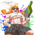 1girl abs biceps breasts co-opvillain female inkling looking_at_viewer muscle muscular_female orange_eyes orange_hair shorts solo splatoon teeth text_focus thick_thighs