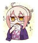 ahoge artoria_pendragon_(all) bangs black-framed_eyewear blush braid brown_eyes checkered checkered_kimono covered_mouth cropped_torso eyebrows_visible_through_hair fate/grand_order fate_(series) flower food food_on_face glasses hair_between_eyes hair_bun haori holding holding_food japanese_clothes kimono light_brown_hair looking_at_viewer mysterious_heroine_x_(alter) naga_u saber_alter semi-rimless_eyewear sidelocks solo translation_request under-rim_eyewear white_flower