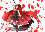 boots breasts cape cleavage gothic_lolita ruby_rose rwby scythe short_hair silver_eyes skirt thighhighs