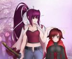 2girls blazblue blazblue:_cross_tag_battle crossover highres katana lobbyrinth long_hair multicolored_hair multiple_girls purple_hair red_eyes red_hair ruby_rose rwby short_hair silver_eyes sword under_night_in-birth weapon yuzuruha