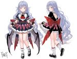 alternate_costume alternate_hair_length alternate_hairstyle artist_name ascot backless_outfit bangs bare_legs bat_wings black_dress black_footwear black_wings blue_hair blush brooch dress fkey jewelry long_hair looking_at_viewer multiple_views puffy_short_sleeves puffy_sleeves red_eyes red_neckwear remilia_scarlet sash shoes short_dress short_sleeves simple_background sketch socks standing touhou very_long_hair wavy_hair white_background white_legwear wings wrist_cuffs