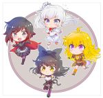 ahoge black_hair blake_belladonna blonde_hair blue_eyes bow cape chibi gradient_hair hair_bow highres iesupa long_hair multicolored_hair ponytail purple_eyes red_cape red_hair ruby_rose rwby rwby_chibi scar scar_across_eye short_hair side_ponytail silver_eyes two-tone_hair wavy_hair weiss_schnee white_hair yang_xiao_long yellow_eyes