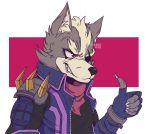 2018 anthro canine claws clothed clothing digital_drawing_(artwork) digital_media_(artwork) eye_patch eyewear fingerless_gloves fur gloves male mammal nintendo pterro simple_background smile solo star_fox thumbs_up video_games wolf wolf_o'donnell