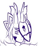 4_ears cyberkitt demon female four_brows horn mask multi_ear spiky_hair