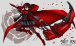 1girl alternate_costume breasts cape cloak crescent_rose highres hood hooded_cloak kurokamirin petals red_cape red_hair rose_petals ruby_rose rwby scythe short_hair silver_eyes